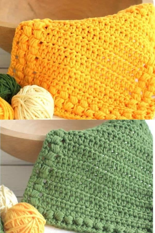 Yellow and green washcloths