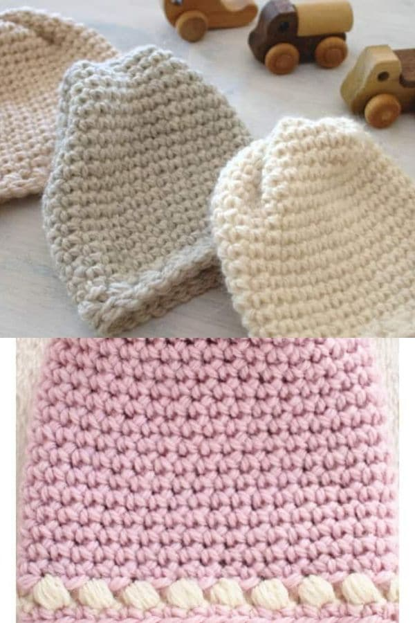 Baby hat pattern with white trim at brim