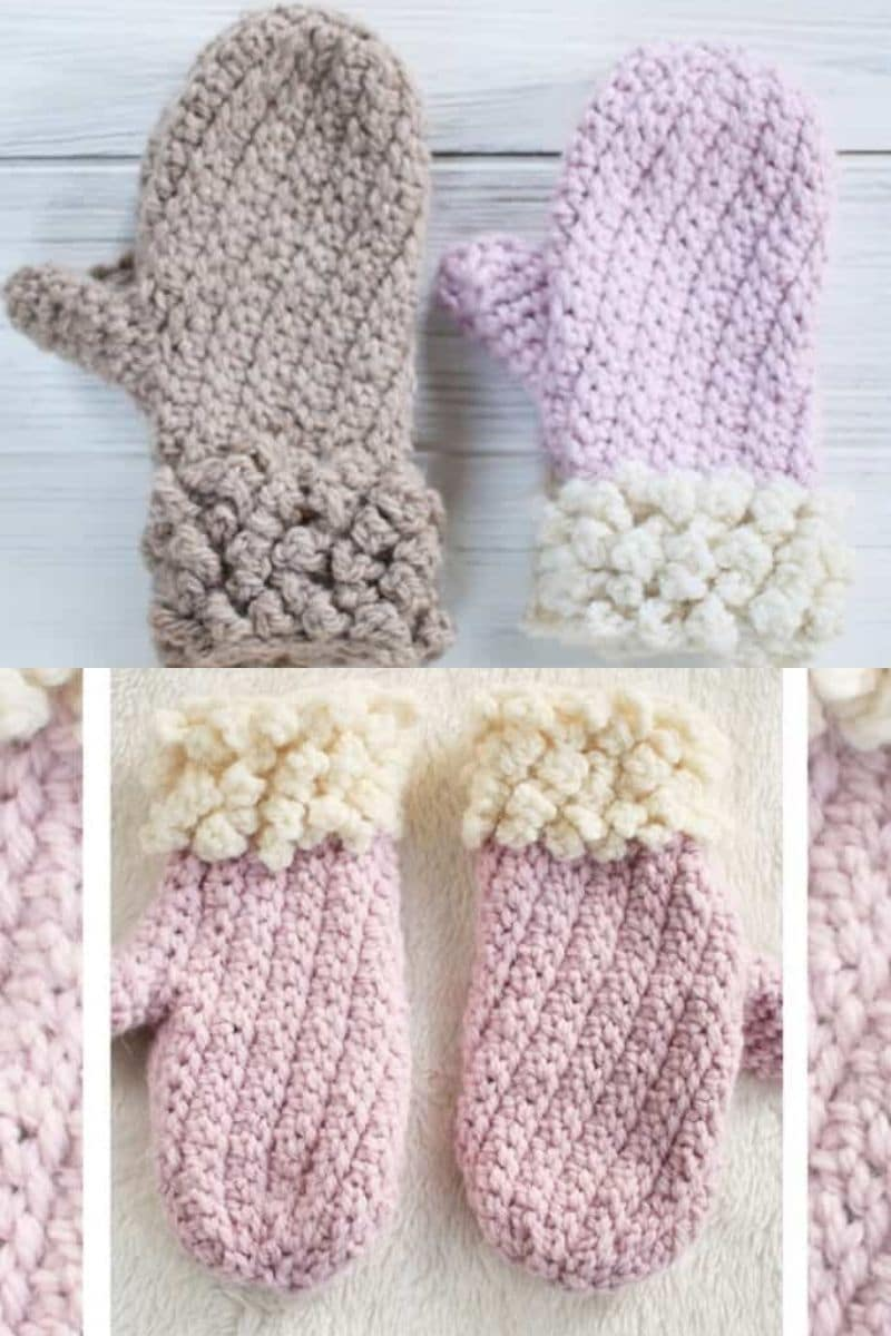 Pink and purple mittens with white cuff