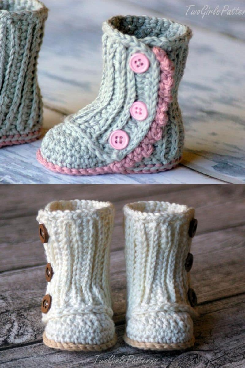 Grey and ivory baby crochet boots
