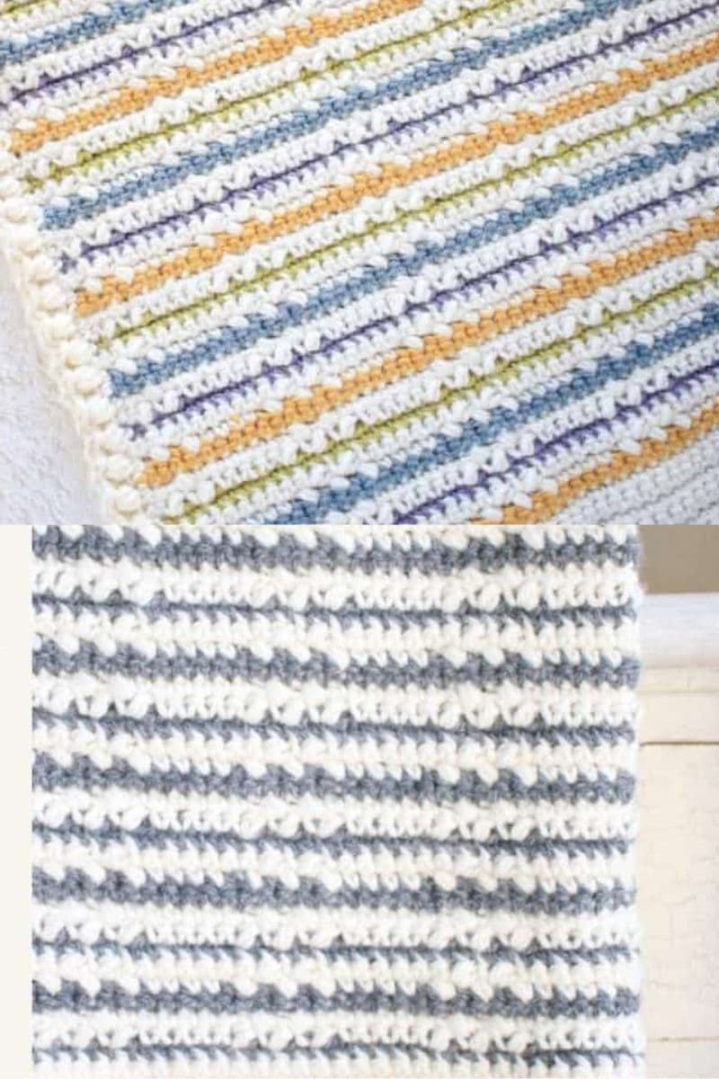 Simple color striped crochet blanket