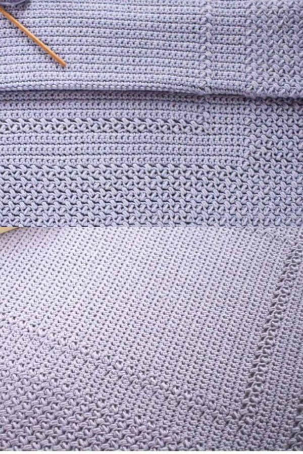 Purple large square crochet blanket