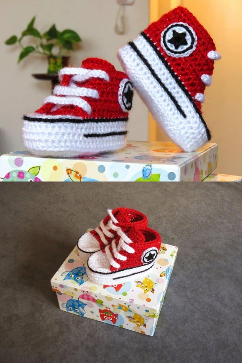 Red and white Converse style crochet booties