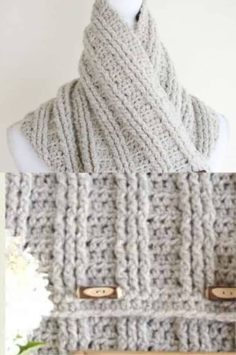 Toggle accented scarf and cowl in grey