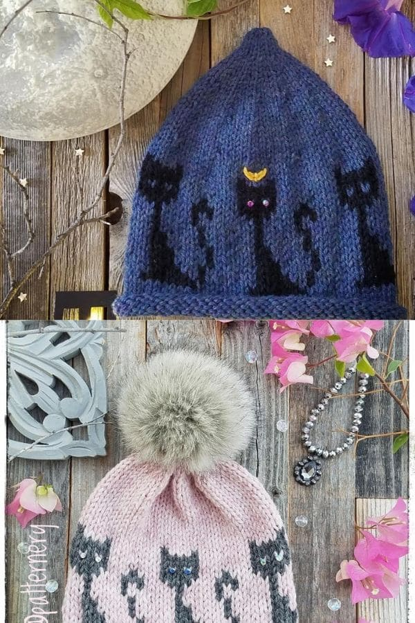 Blue and pink hats with black and grey cats
