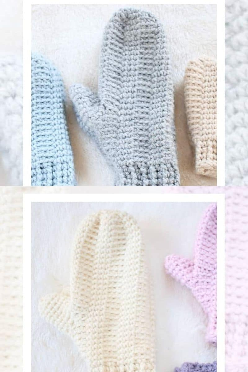 Simple hill crest pattern crochet mittens in blue and pink