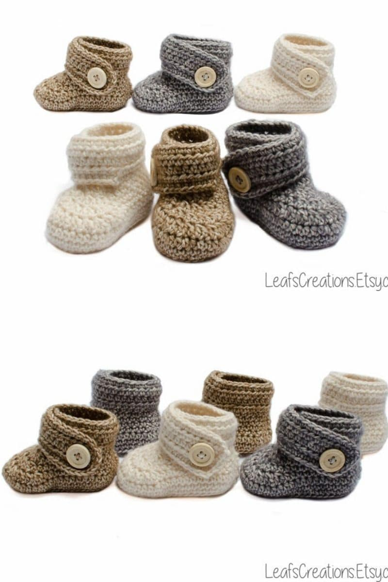 Ivory and brown baby booties with a button