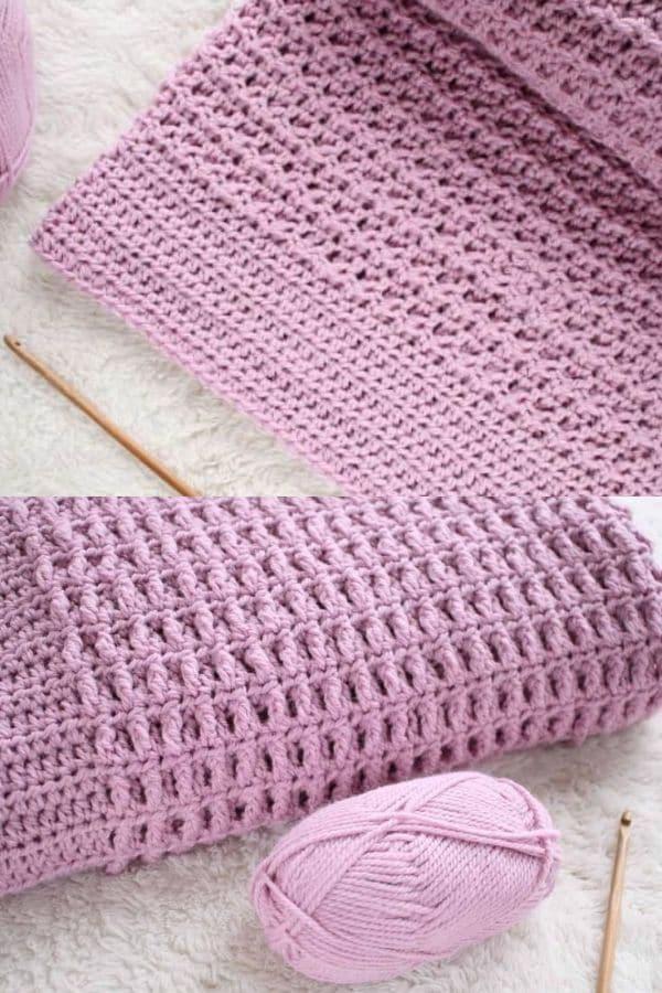 Purple crochet blanket with wide border