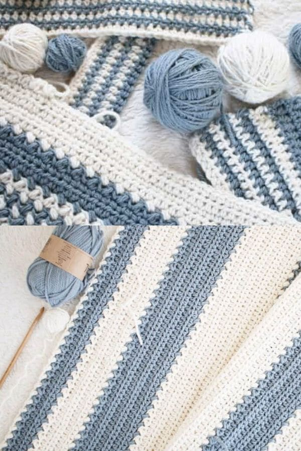 Blue Beige and White Baby Blanket