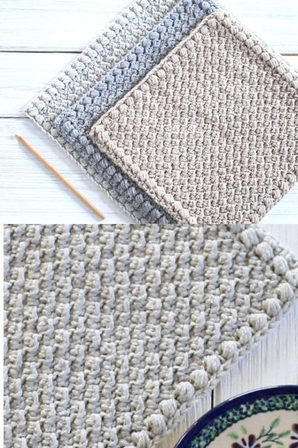 Creek pebbles grey crochet dishcloths