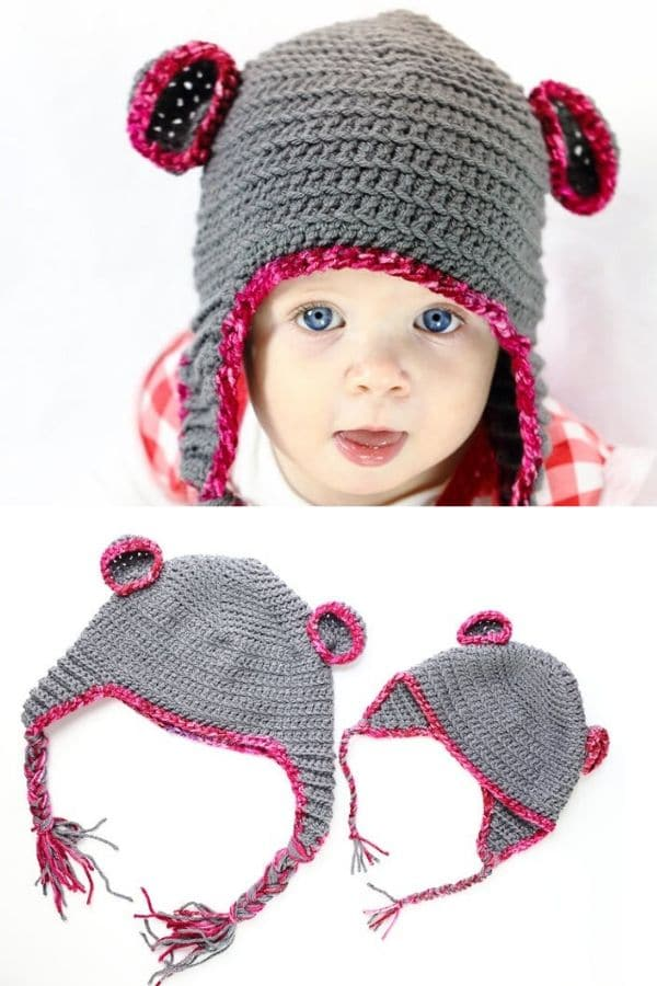 Grey and pink bear hat