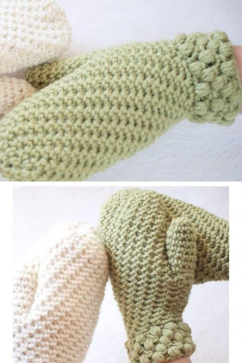 Gathered buds green crochet mittens pattern