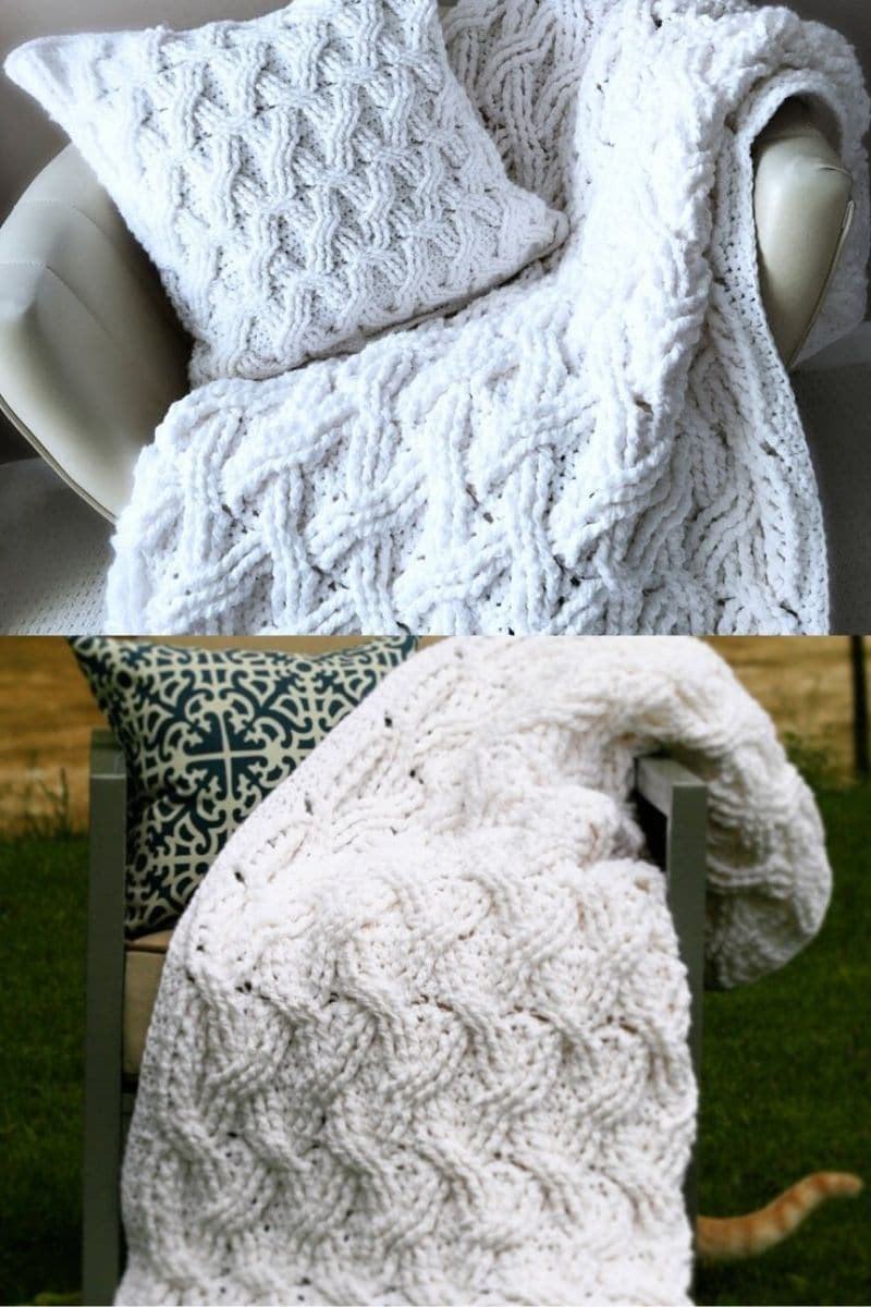 White cabled blanket over chair