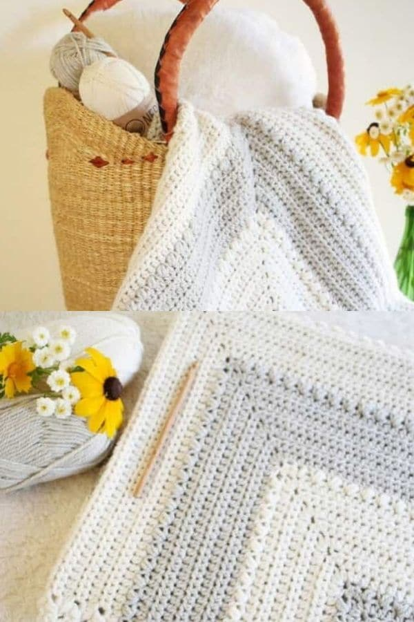 Grey and white striped crochet blanket