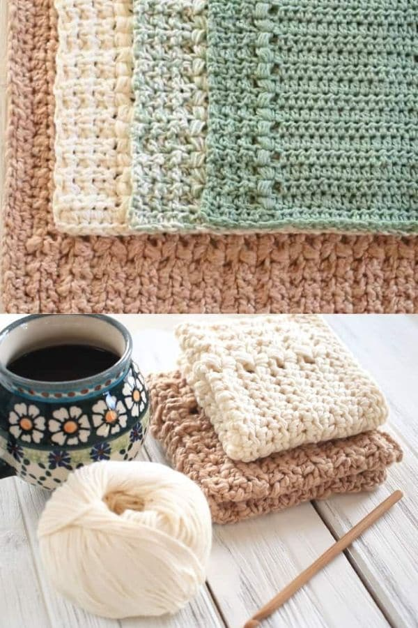 Half stitch crochet pattern dishcloth