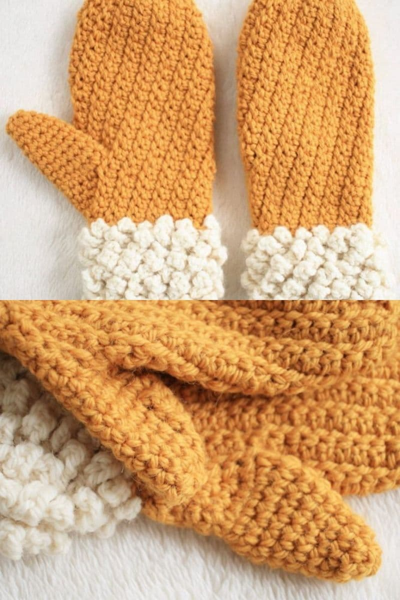 Orange mittens with cream cotton ball cuff