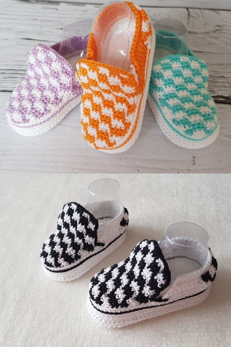 Baby sized crochet vans booties