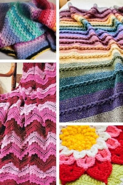 Large collage of brightly colored afghans