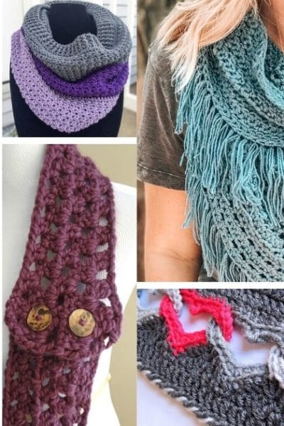 Small collage of crochet cowls, scarves, and shawls