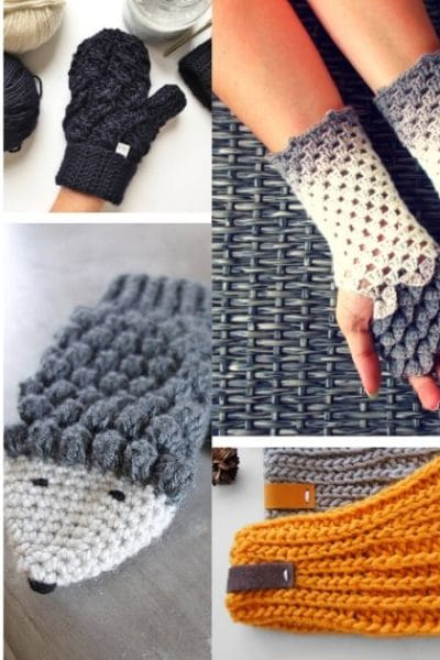 Small collage of crochet mittens