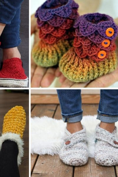 Small collage of crochet slippers
