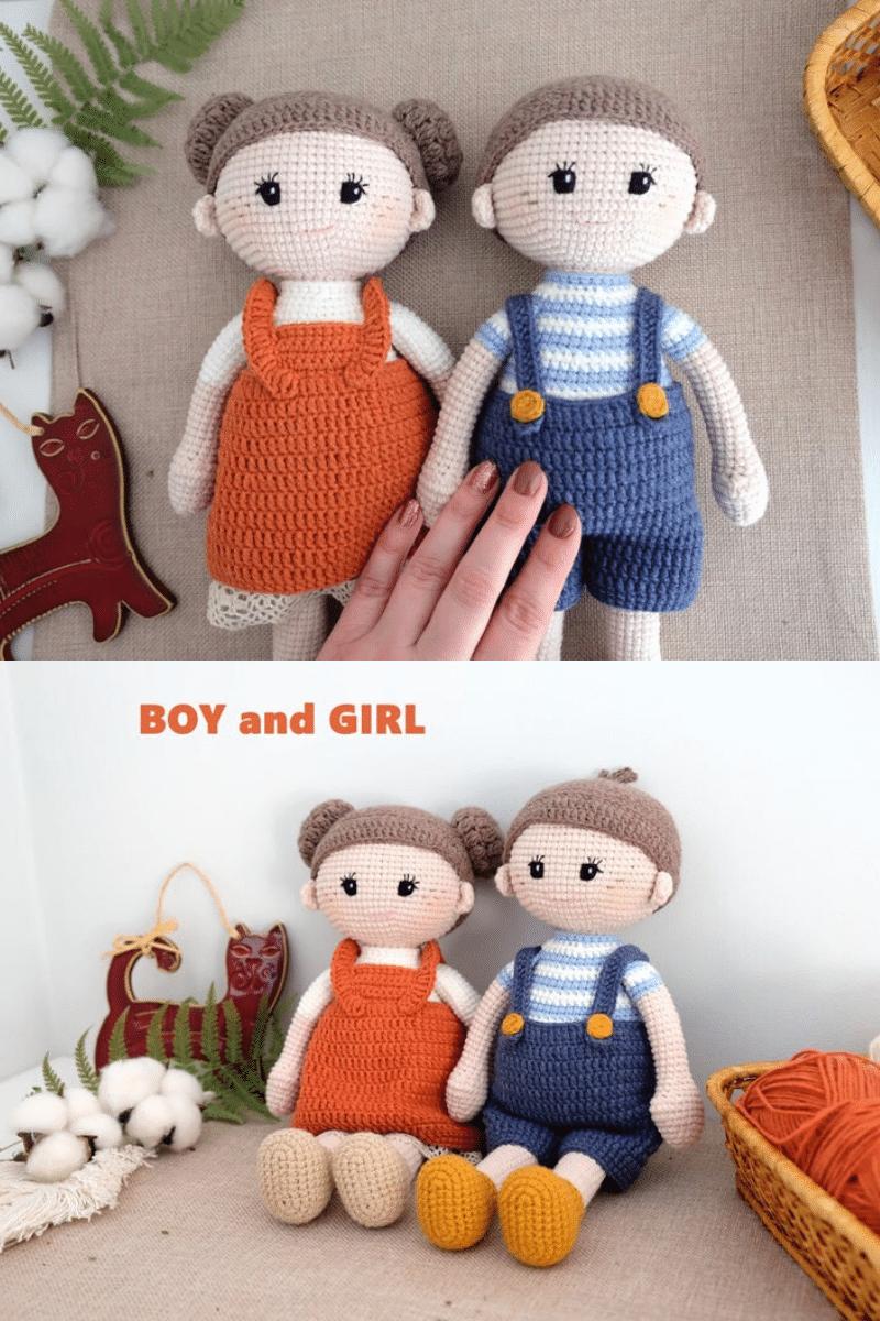 Crochet boy and girl