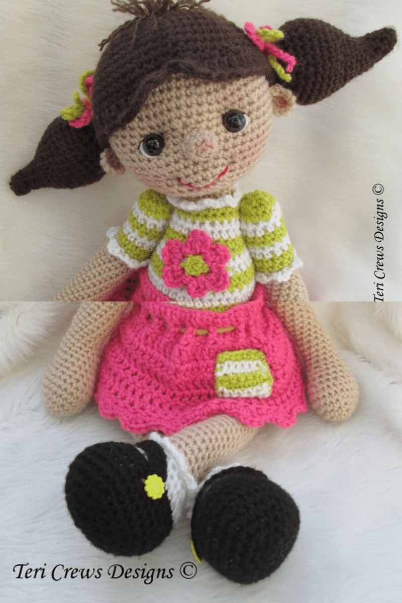 Crochet girl with pigtails