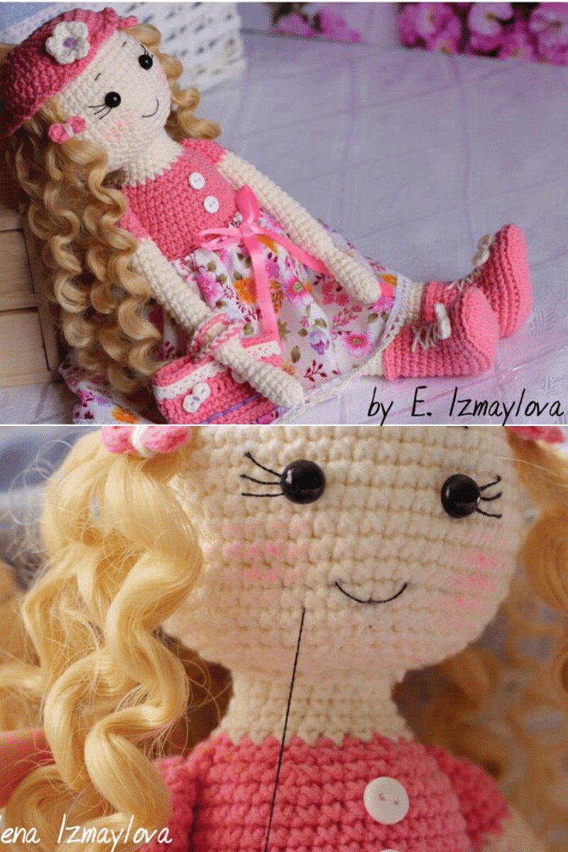 Crochet girl with pink hat