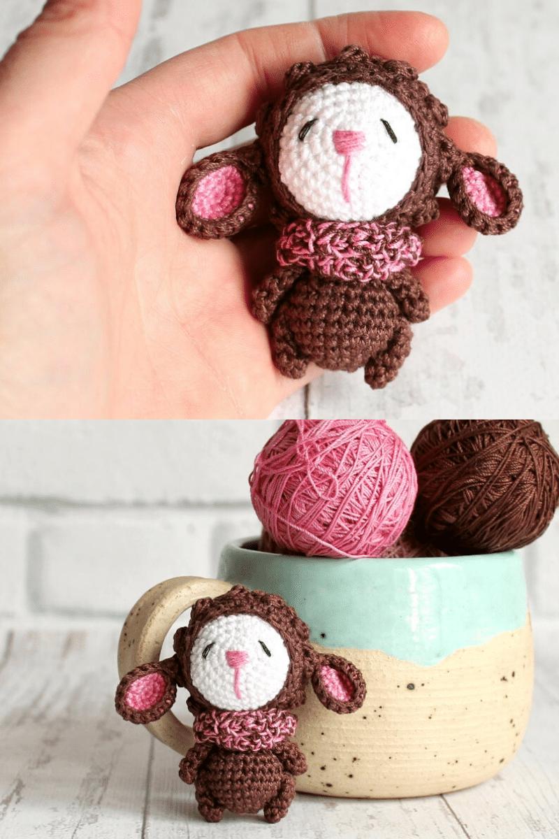 Crochet brown sheep