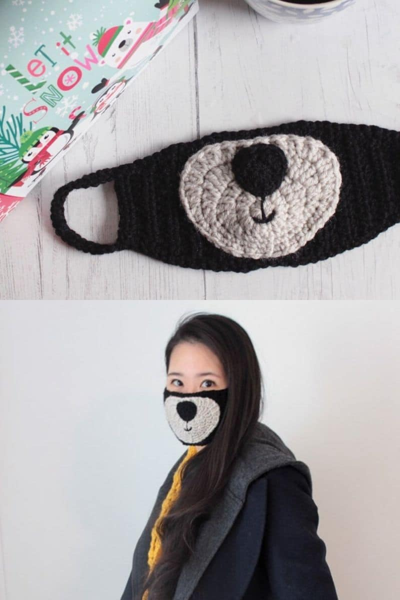 Kpop black and ivory crochet mask