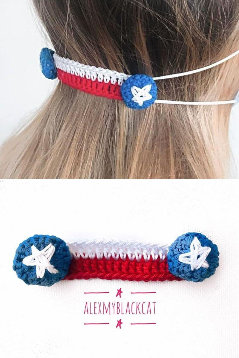 Patriotic crochet ear savers