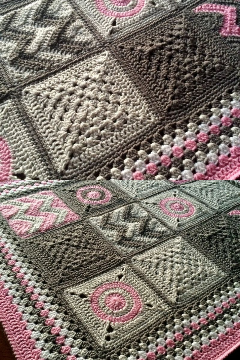 Grey tone patchwork blanket