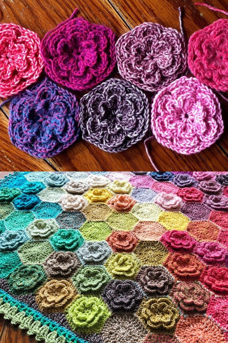 Jewel tone crochet flower