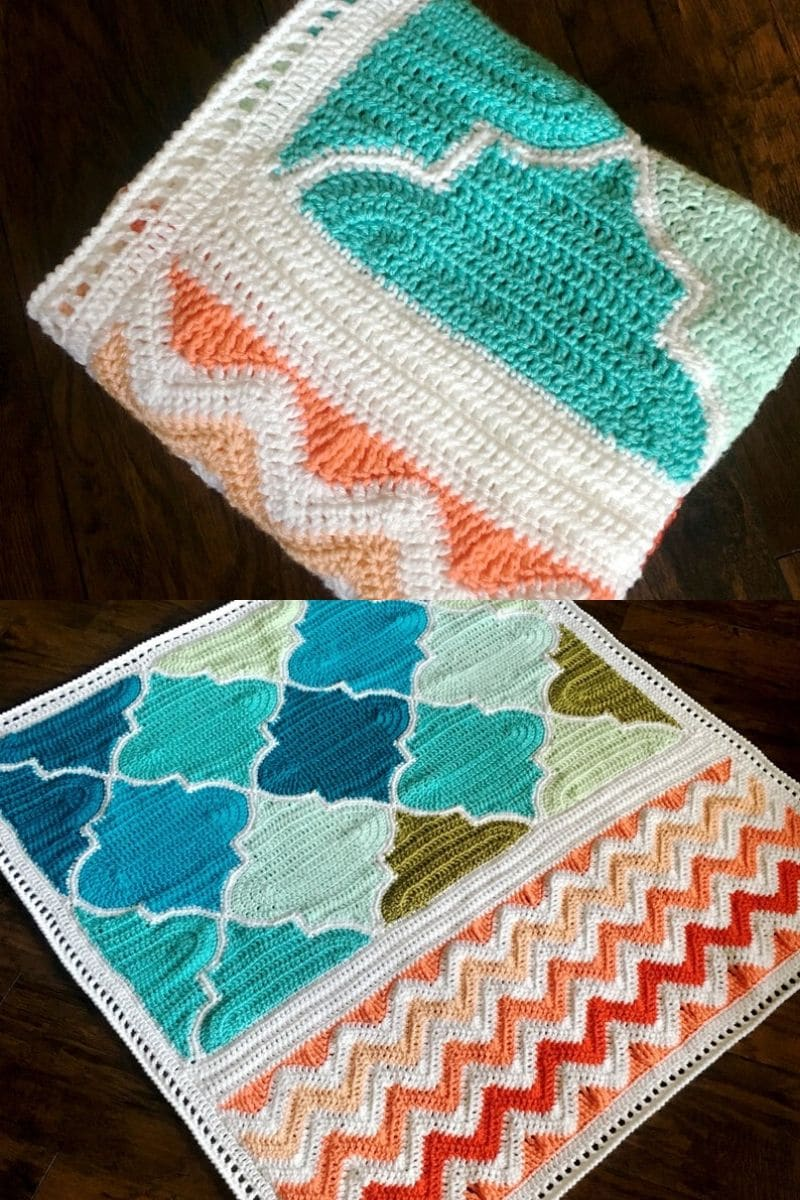 Trellis and Chevron afghan