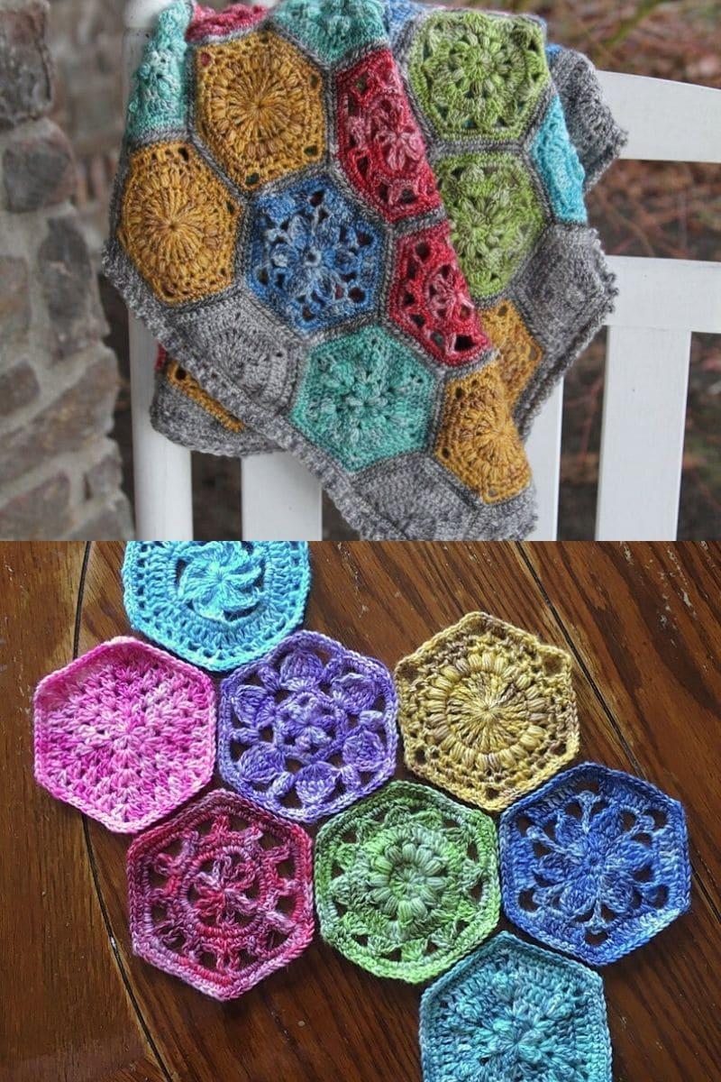 Floral crochet granny square blanket