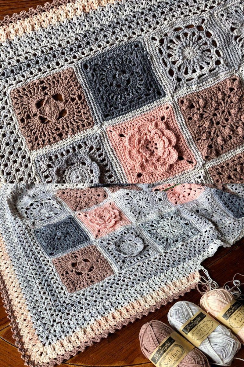 Crochet patchwork floral blanket pattern