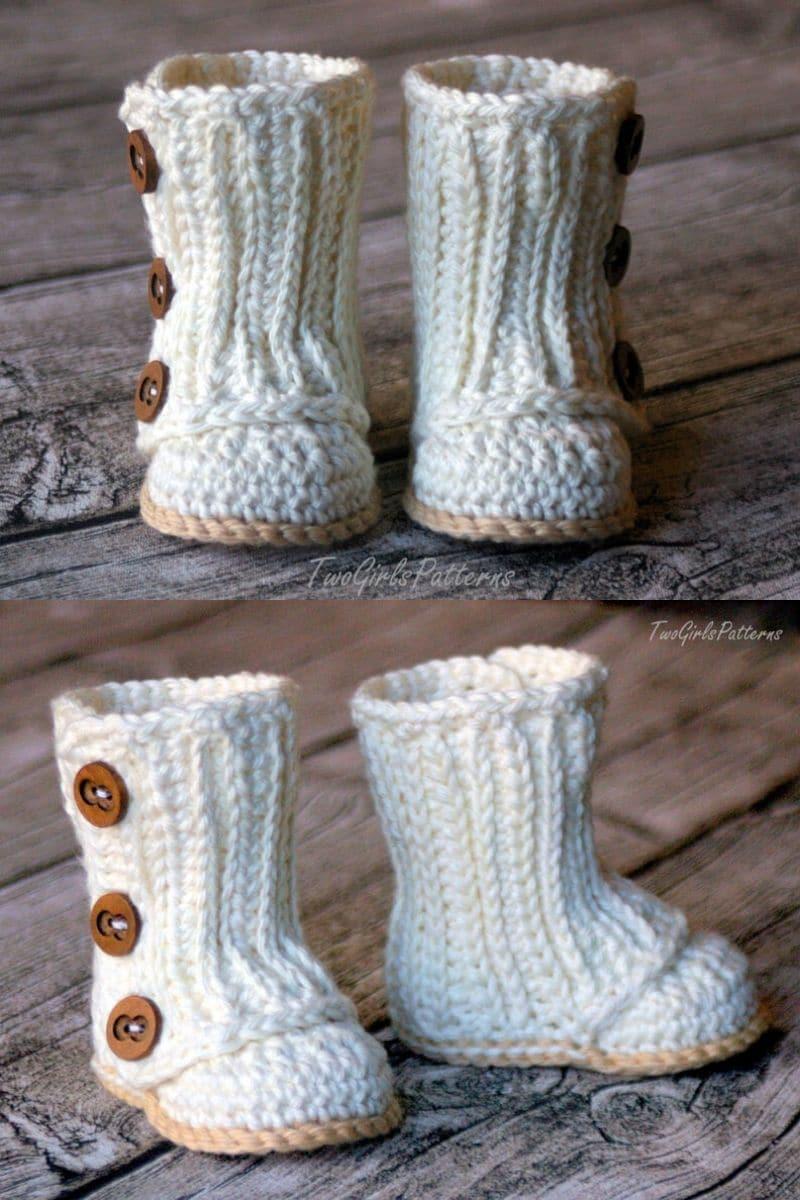 Crochet white boots