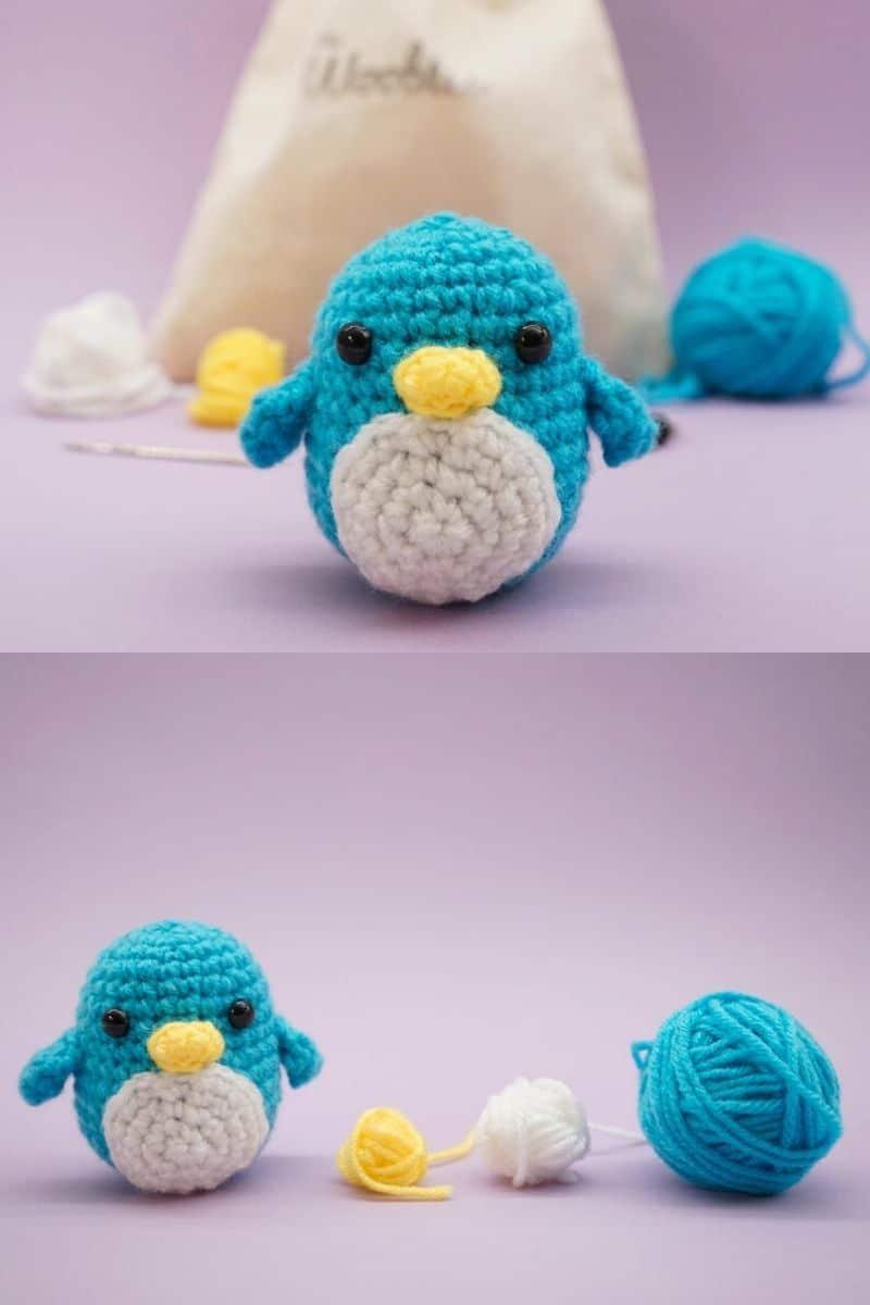 Blue crochet bird