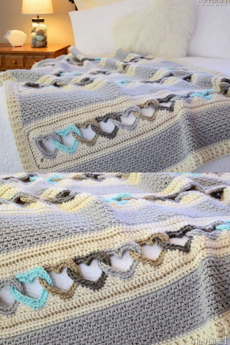 Crochet blanket with hearts