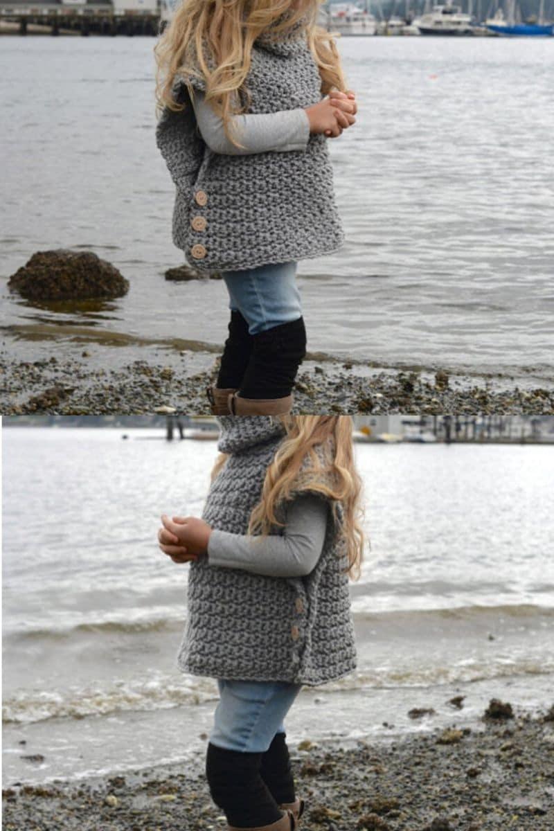 Crochet girls pullover