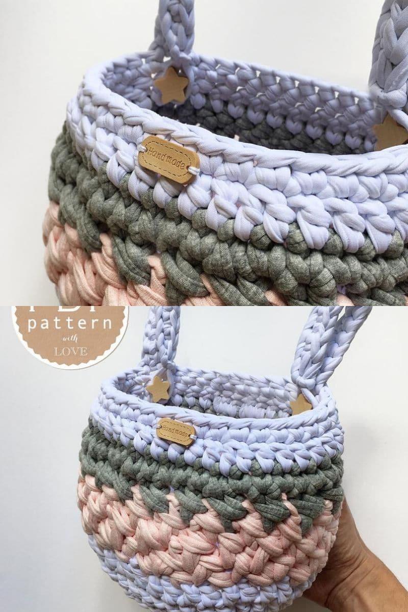 Pastel crochet basket