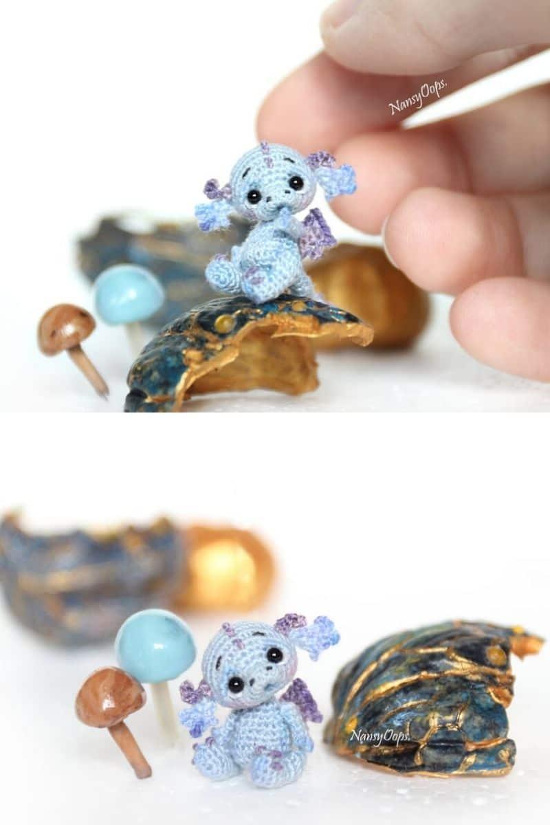 Miniature crochet dragon