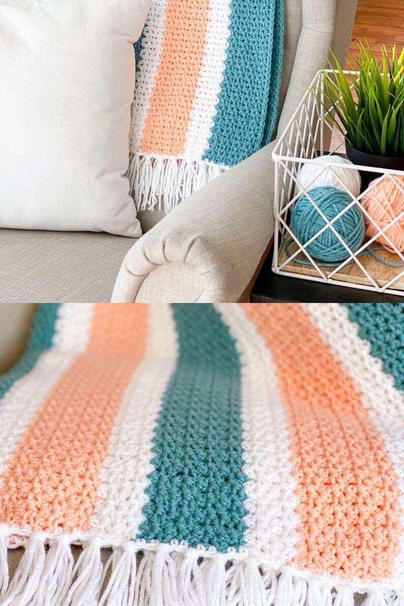 Peach and teal crochet blanket