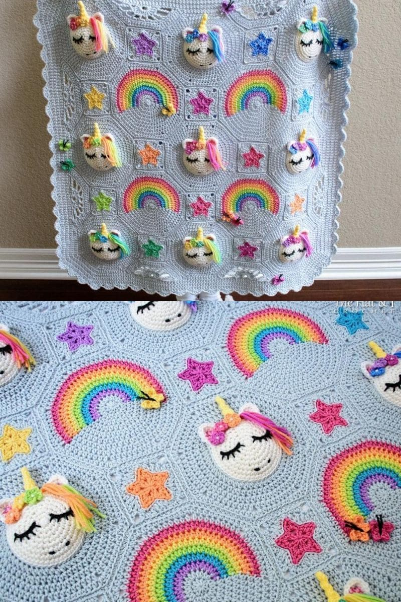 Crochet unicorn blanket