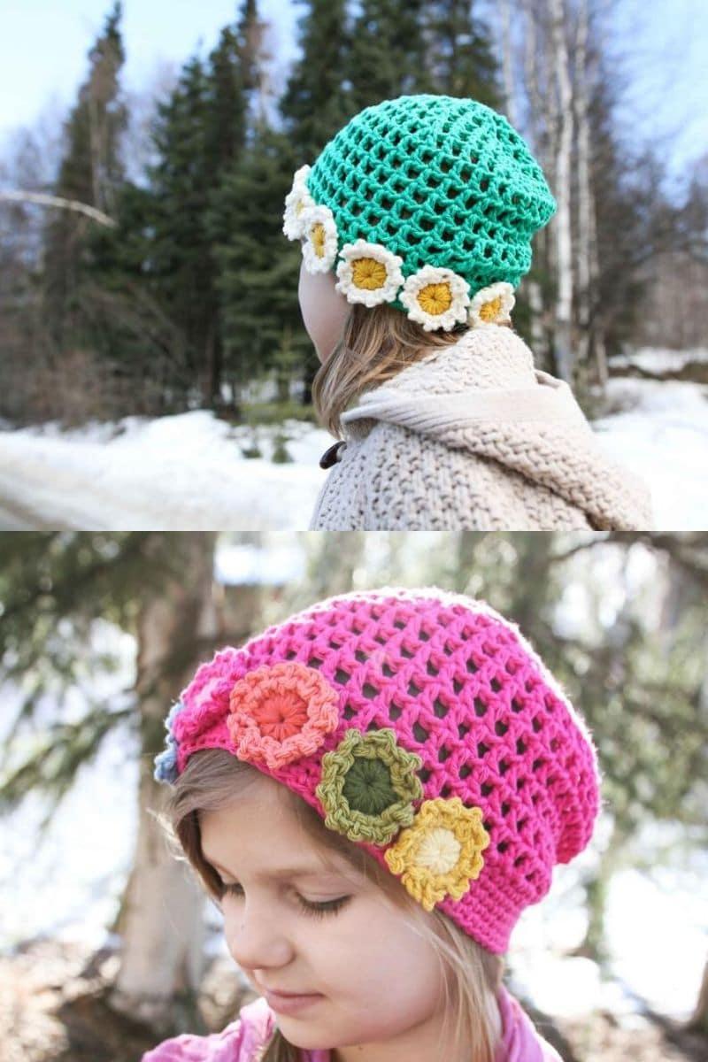 Crochet girls summer hat