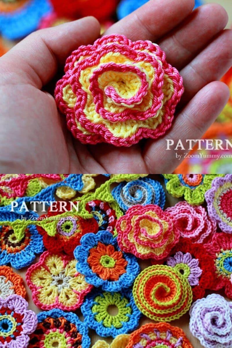 Crochet colorful flowers