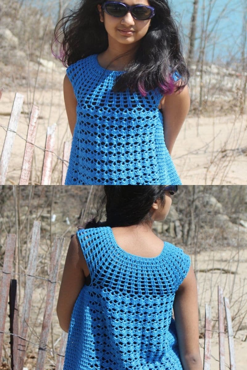 Blue crochet tunic