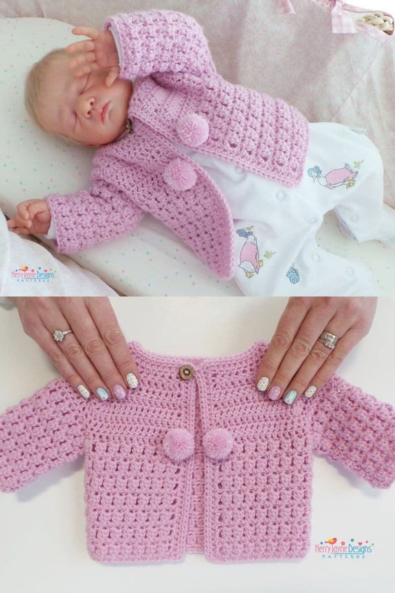 Pink crochet baby cardigan