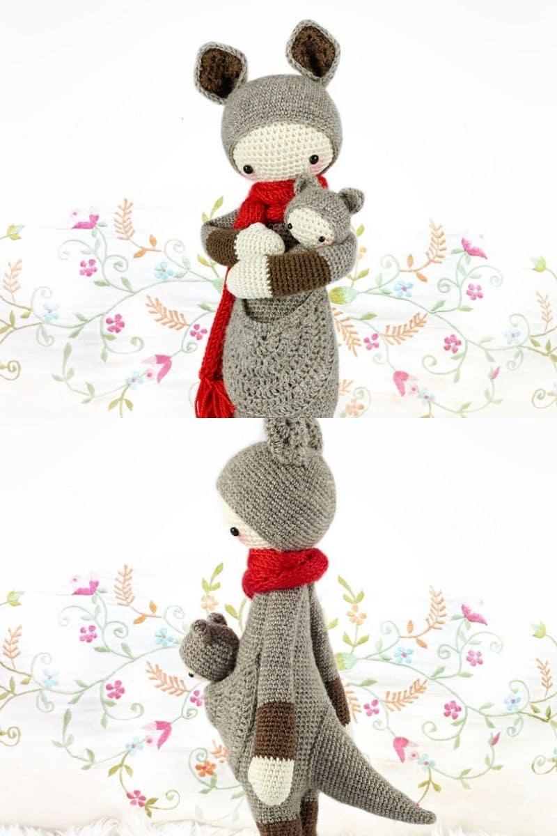 Pink crochet kangaroo
