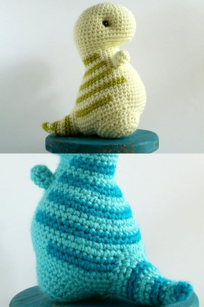 Blue and green crochet T-rex toy